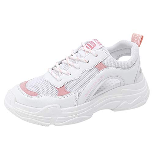 Bralonees Women Sandals Hollow Breathable Wedge Sneakers Casual Shoes Lightweight Running Fitness Road Non-Slip Sports Pink