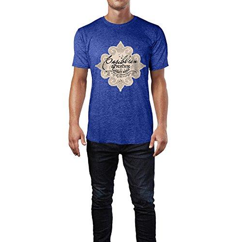 SINUS ART® Viktorianischer Druck mit Schriftzug Herren T-Shirts in Vintage Blau Cooles Fun Shirt mit tollen Aufdruck