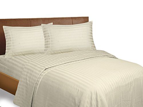 Bonne Nuit 500 Thread Count Striped Hotel Collection Luxuryding Sheets Super Sale, 100% Cotton Stripe Sateen Sheet Set with s (Queen, Stripe Satin, Ivory)