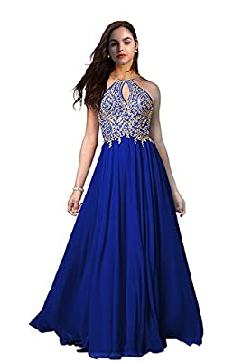 FeliciaDress Prom Dresses Halter Chiffon Applique Long Short Women Formal Evening Gowns 2018 FD023