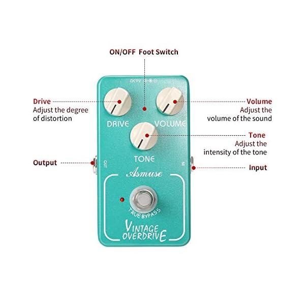 Asmuse Effetto Overdrive a Pedale per Chitarra Elettronica con True Bypass Pedale a 3 Manopole di Controllo