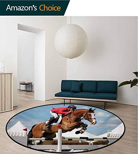 RUGSMAT Horse Non-Slip Area Rug Pad Round,Jumping Horse and Sportsman Race Competition Performance Success Winning Event Print Protect Floors While Securing Rug Making Vacuuming,Round-59 Inch ()