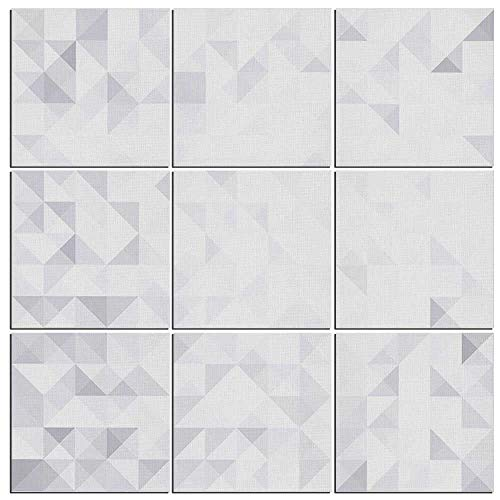Grey and White Canvas Wall Art,9 Pieces,Geometric Poly Artsy Triangles Abstract Pattern in Many Shades of Grey Pictures Modern Zen Painting Prints Giclee Art Work for Home Office Kitchen Framed (Split Bamboo Shade)