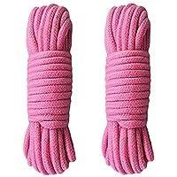 Zacht katoenen touw-35ft 10m natuurlijk duurzaam lang katoenen touw (2 Pack van roze)