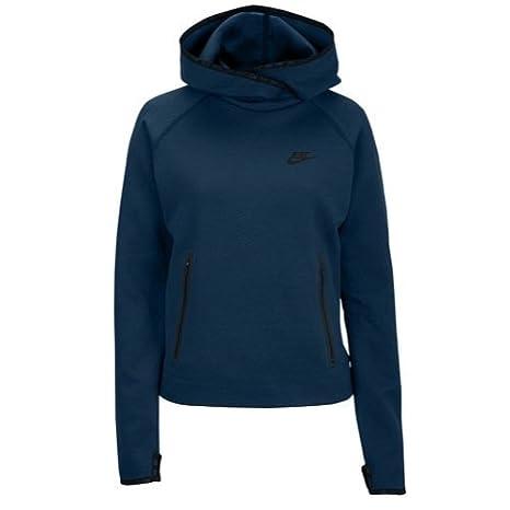 4616cfd7a37e NIKE Women s Tech Fleece Funnel Space Blue Space Blue Black Sweatshirt LG  at Amazon Women s Clothing store