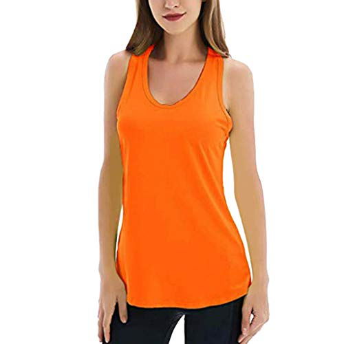 Aniywn Women's Sleeveless Yoga Shirts Workout Tank Tops Athletic Breathable Backless Tank Yoga Tops Orange
