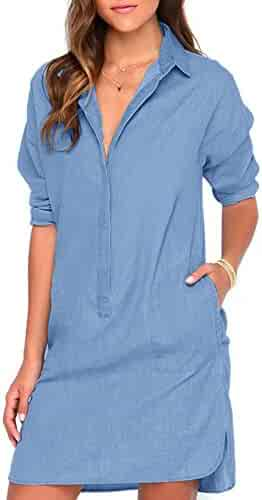 b35e303899e ROPALIA Women s Casual Mini Dress Long Sleeve Denim Jean Shirt Dress Blouse  Tops