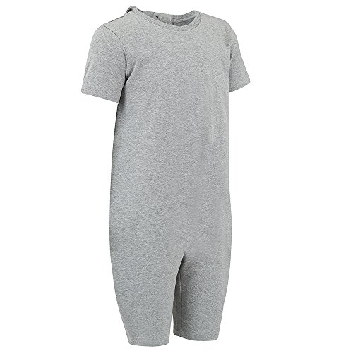Special Needs Clothing for Older Children (3-16 yrs Old) - Zip Back Jumpsuit for Boys & Girls by KayCey - Grey (13-14 Years Old) ()