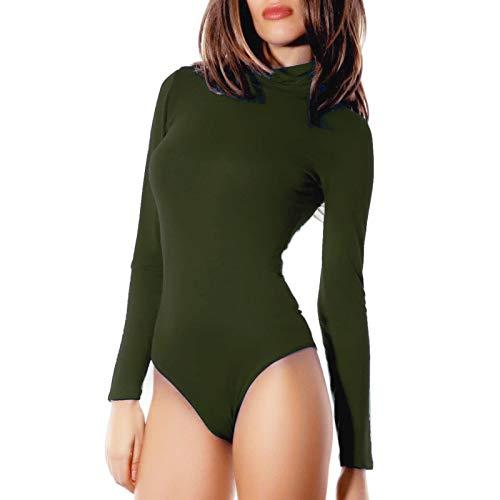 Felpato Militare Manica Cc Collo Alto Dolcevita Donna Sottogiacca Body Lunga 1 Lupetto 1 taglia Verde nero Unica Toocool 1TqYw