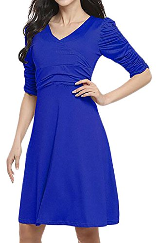 Cromoncent Womens Solid Color High Rise Long Sleeve V-Neck Pleated Swing Dress Royal Blue X-Small