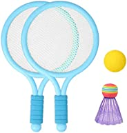 LEIPUPA Colorful Kids Plastic Badminton Tennis Rackets Ball Set Garden Outdoor Sports Toys Gifts for Toddlers
