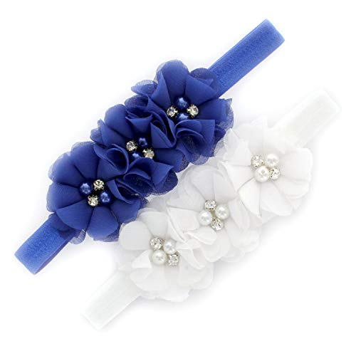 Price comparison product image My Lello Baby Flower Headbands Fabric Beaded Trio Stretchy Elastic Pair (Royal / White)