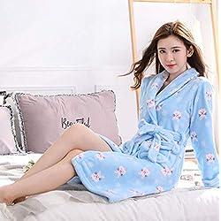 FDJIAJU Batas Bara Mujeres,Cartoon Invierno Adorable Gato Dormir Dama Pijamas Navidad Regalo de Navidad la Mujer Sexy de Terciopelo Coral Espesar Albornoces Elegantes Damas Sweet Homewear camisón