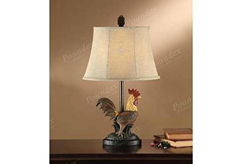 Set of Two Table Lamp with a Rooster Replica Base (Rooster Table Lamp)