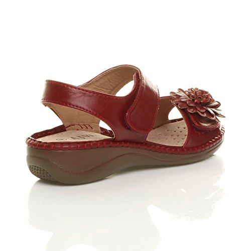 Ajvani Womens Ladies Low Wedge Heel Hook & Loop Strap Slingback Flower Comfort Leather Insole Sandals Shoes Size Red OwqfLKTP