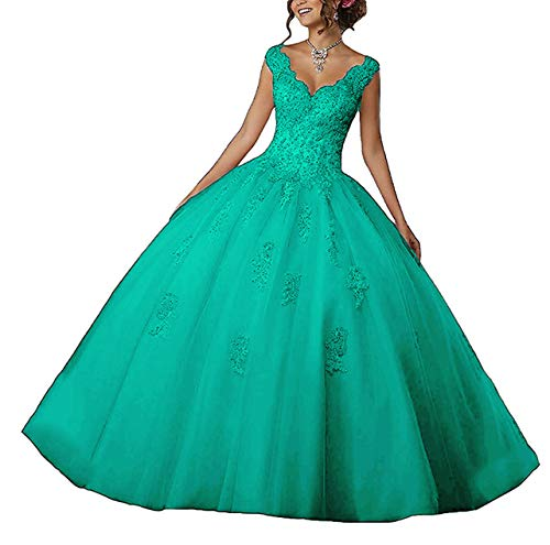 2000 Quinceanera Dress - EileenDor Women's V Neck Sleeveless Quinceanera Dresses Embroidery Beading 15 Dresses Sexy Open Back Formal Prom Gown Turquoise