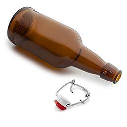 Chef\'s Star Easy Cap Beer Bottles, 16 oz, Pack of 6, Amber