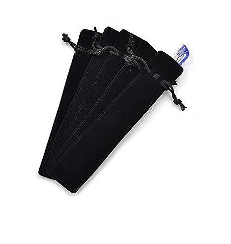 223b3b9d054d Crqes 50 Pcs Black Velvet Pen Pouch Sleeve Holder Single Pen Bag Case  Pencil Bag