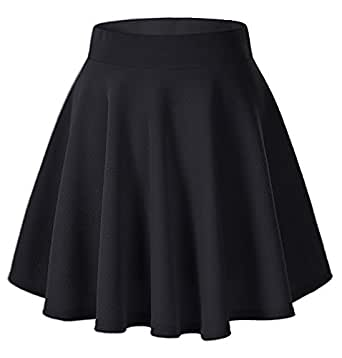 Payeel Women's Skirts Basic Stretchy Flared Casual Mini Skater Skirt (Small, Black)