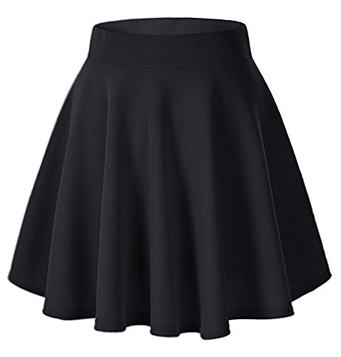 Moxeay Women's Basic A Line Pleated Circle Stretchy Flared Skater Skirt (Medium, Black) -