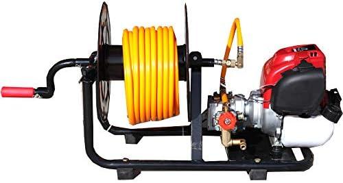 Motor y bomba de sulfatar 2 tiempos 30bar 10 litros minuto, con enrollador. Bomba 2 pistones de acero con cabeza cerámica.