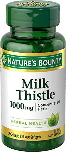 Nature's Bounty Milk Thistle Pills and Herbal Health Supplement, Supports Liver Health, 1000mg, 50 Softgels