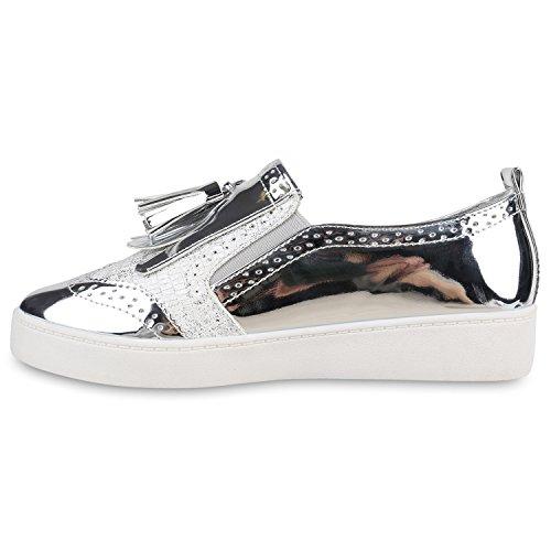 Damen Slipper Lack Plateau Loafers Metallic Schuhe Profilsohle Loafer Flats Glitzer Slippers Quasten Lochung Flandell Silber Metallic