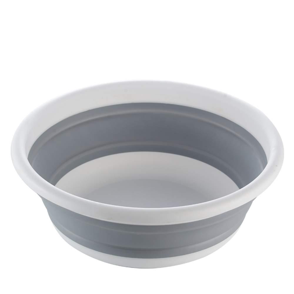 Folding Basin Camping Hiking and Home Collapsible Sink BPA Free Multi-purpose Dish Tub Bowl Kitchen Storage Tray Laundry Basket Foldable Pop Up Storage (Grey) 14.8 * 5.1 Inch HaiYC