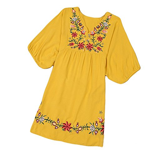 - Asher White Mexican Embroidered Peasant Dressy Tops Blouses (One Size, Yellow)