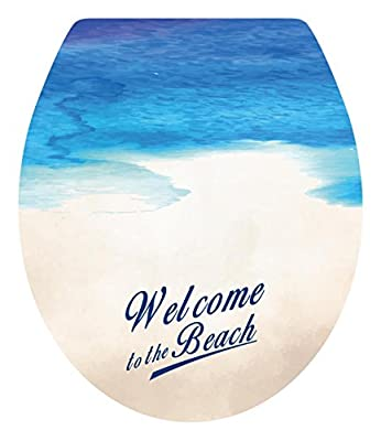 """DNVEN (13""""w X 15""""h) Welcome to the Beach Sea Beach Seaside Bathroom Toilet Seat Lid Cover Decals Stickers"""