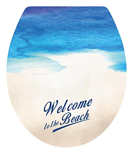 """high-quality Dnven (13""""w X 15""""h) Welcome to the Beach Sea Beach Seaside Bathroom Toilet Seat Lid Cover Decals Stickers"""
