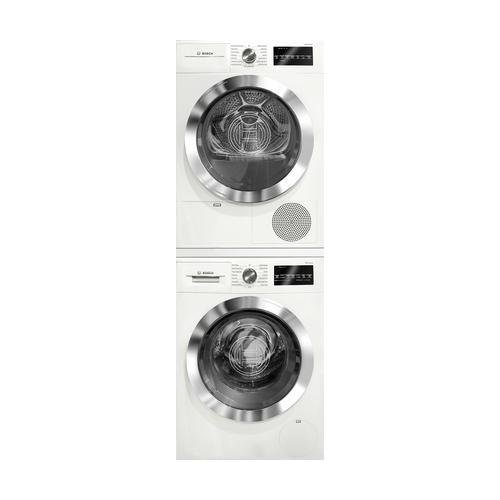 800 Series White Front Load Compact Laundry Stacked Pair with WAT28402UC 24 Washer WTG86402UC 24 Electric Condensation Dryer and WTZ20410 Stacking Kit ()