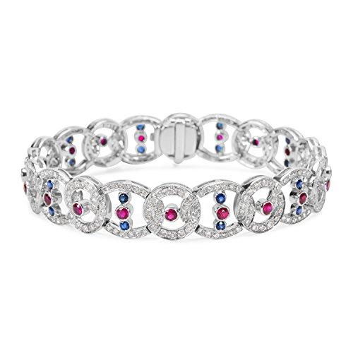 Diamond & Sapphire Bangle Bracelet (Diamond, Sapphire & Ruby Bracelet in 18k White Gold (3.54 CTW))