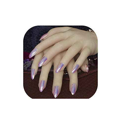 Sb 406 - 24Pcs Metal Sharp end Stiletto False Nails Full Cover Ballerina Mirror Effect Fake Nails Tips Manicure Artificial Nails,406