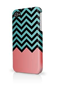 Coral Teal Black Chevron iPhone 5 Case - Fits iPhone 5 Full Print Plastic Snap On Case