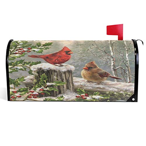 Wamika Winter Cardinal Birds Mailbox Cover Holly Berry Branches Snow Mailbox Covers Magnetic Mailbox Wraps Post Letter Box Cover Garden Home Christmas Decorations Standard Size 18