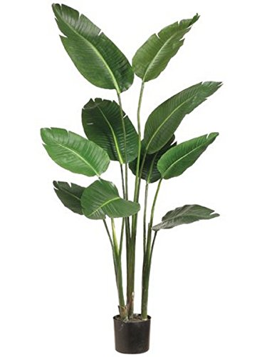 One 5 foot Artificial Silk Bird of Paradise Palm Tree Potted Plant