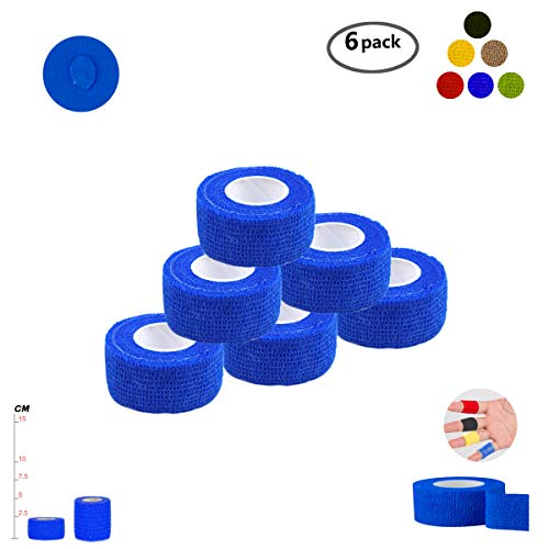 Yd Cohesive Elastic Bandage Wrap - Self Adherent Wrap Tape Medical Cohesive Bandages Flexible Stretch Athletic Strong Elastic First Aid Tape for Sports Sprain Swelling and Soreness on Wrist and Ankle 6 Pack 1Inch X 5Yards(Blue)