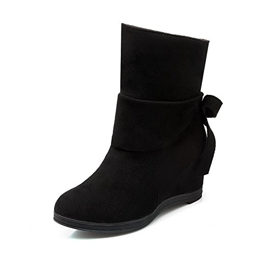 Allhqfashion Women's Solid Imitated Suede High-Heels Pull-on Round Closed Toe Boots Black 4JF3KgV