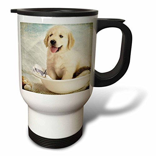 Golden Retriever Puppies Art (3dRose tm_172989_1 Cute Golden Retriever Puppy Spa Day Art Photo Courtesy Badest Boss Stainless Steel Travel Mug, 14 oz, White)