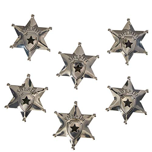 Juvale 6-Pack Metal Sheriff Deputy Cowboy Toy Badges for Kids, Party Favors, and Pretend Play, 2.7 Inches Diameter (Badge Deputy)