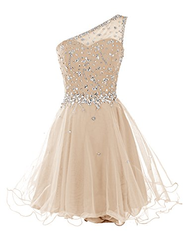 DRESSTELLS Short One Shoulder Prom Dresses Tulle Homecoming Dress with Beads Champagne Size 8