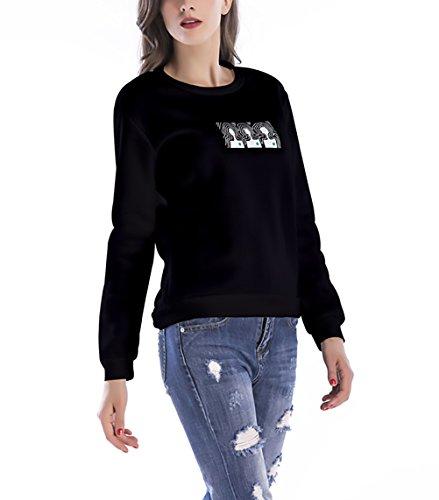 Negro Camisetas Hipster Invierno Sudaderas Sweatshirts Mujer Casual Tops Chica Redondo Cuello Estampadas Elegantes Larga Otoño Pullover Deportivas Basicas Manga nH6wUx6