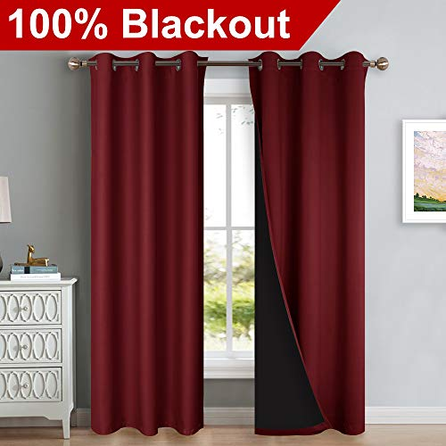 - NICETOWN 100% Blackout Curtains with Black Liner Backing, Thermal Insulated Curtains for Living Room, Noise Reducing Drapes, Burgundy Red, 42