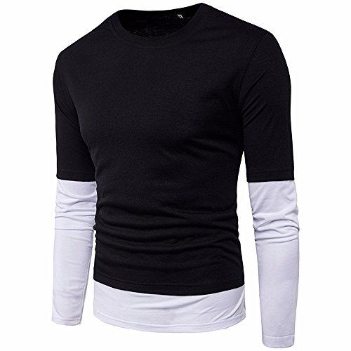 Realdo Clearance Mens Slim Splice Solid Long Sleeve Slim Fit Sport T-Shirt Top(Medium,Black) by Realdo