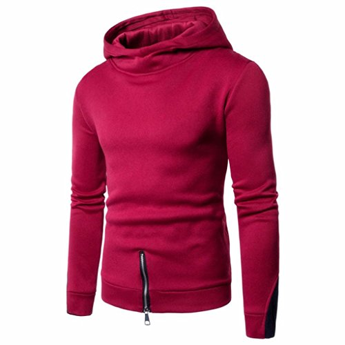 Muranba Men's Long Sleeve Zipper Hoodie Hooded Sweatshirt Top Tee Outwear Blouse (Red, (Adult Liquid Metallic Pant)