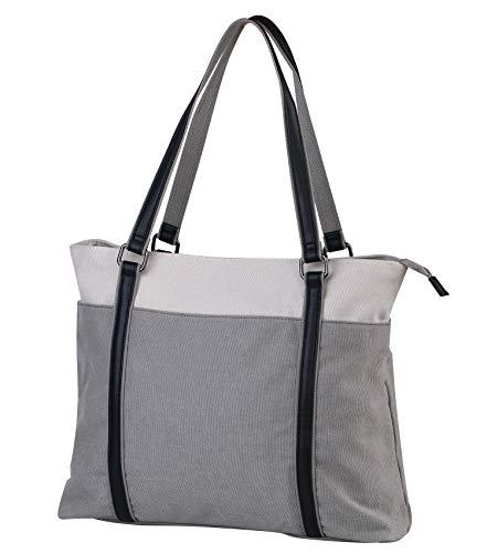 Coolqiya Canvas Tote Handbag Laptop Shoulder Bag Business Work School for Man and Woman-Light Gray ()