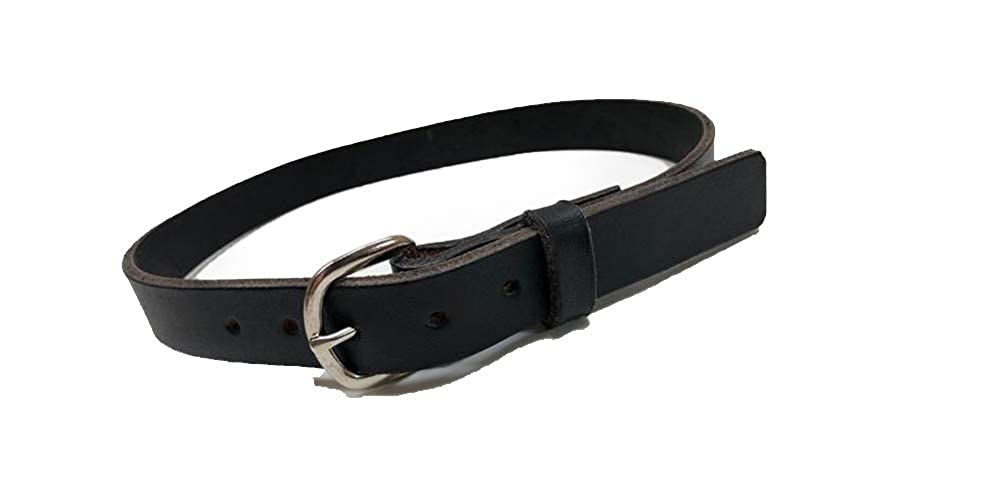 Kids black leather belt with smooth silver tone buckle