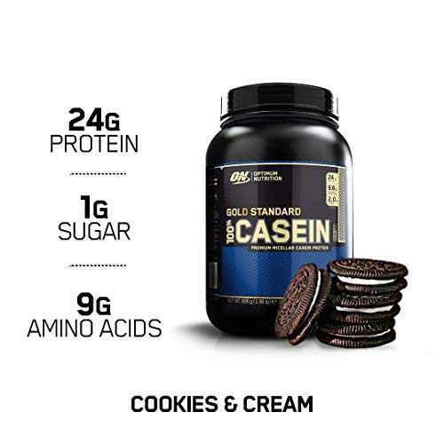 - OPTIMUM NUTRITION Gold Standard 100% Micellar Casein Protein Powder, Slow Digesting, Helps Keep You Full, Overnight Muscle Recovery, Cookies and Cream, 2 Pound