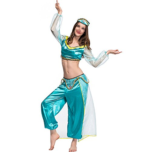 Womens and Girls Arabian Princess Dress Up Costume Belly Dancer Fancy Dress Costume Outfit,Adult Green,X-Large